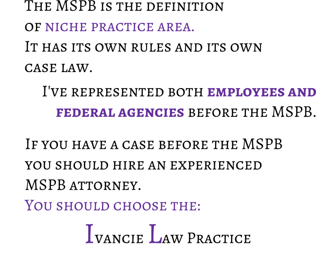 Hire an experienced MSPB attorney. Choose San Diego Attorney, Mike Ivancie to handle your Merit Systems Protection Board appeal.