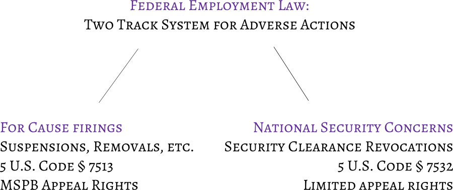 Two track system, for cause firings vs. national security concerns federal adverse actions